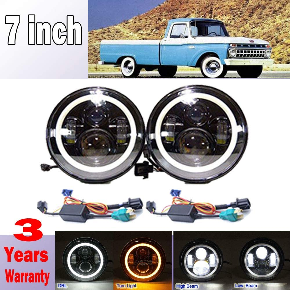Amazon Com For Ford F100 F150 F250 F350 Pikcup 1969 1979 7 Inch 7500lms Led Headlights With White Drl And Amber Turn Signal High Low Beam Conversion Kit Dot Approved Plug H4 To H13