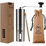 Firlar Premium Manual Coffee Grinder Adjustable Coffee Grinder Burr, Stainless Steel Burr Mill Grinder with Brush