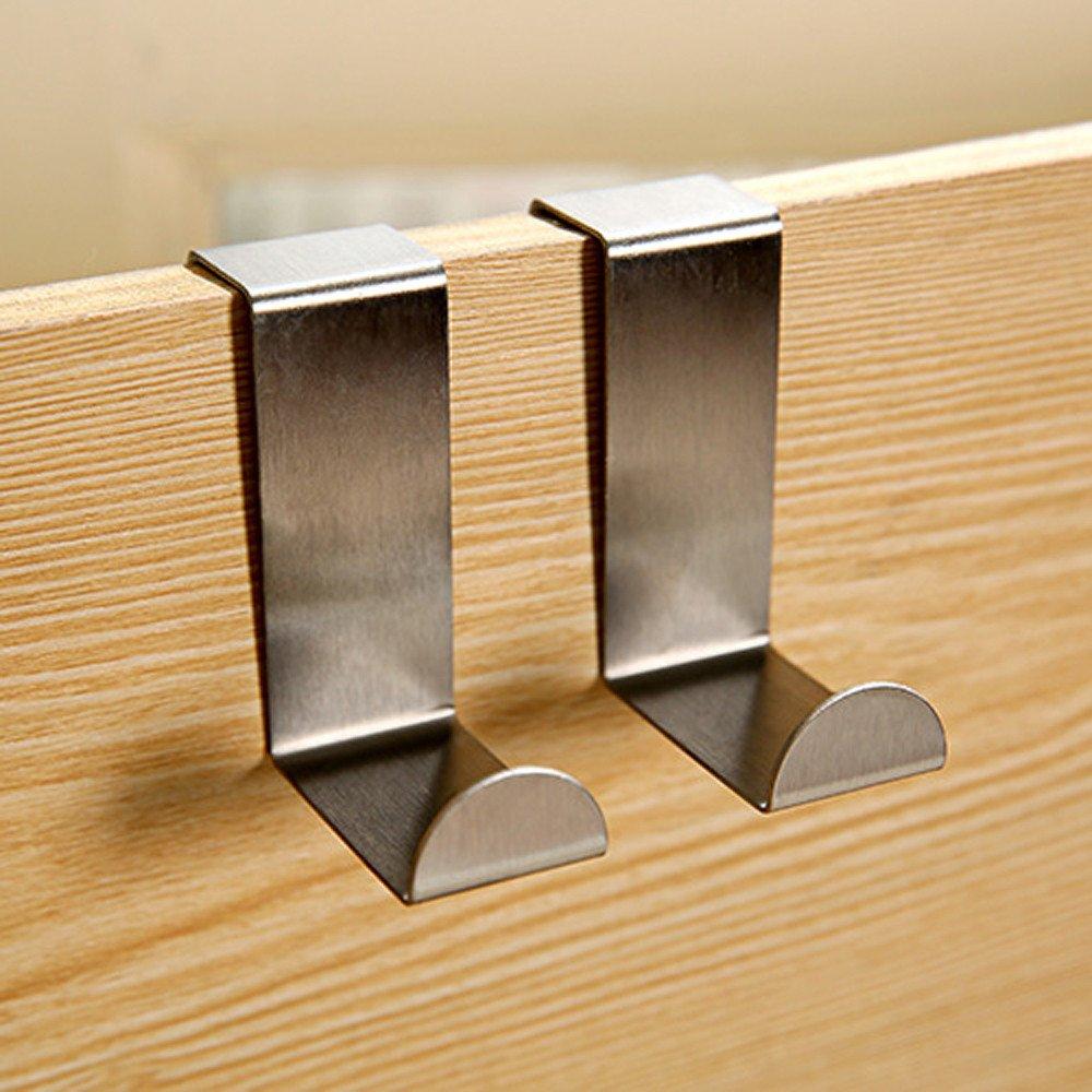 Pgojuni Door Hook Stainless Kitchen Bathroom Cabinet Clothes Hanger 2PC Silver