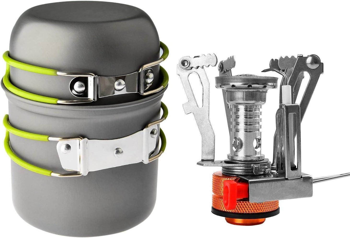 Acampar kit de utensilios de cocina,Portátil 304 Acero Inoxidable Colgantes Taza de Supervivencia,Taza de Agua de 12 onzas con Protector Ideal para ...