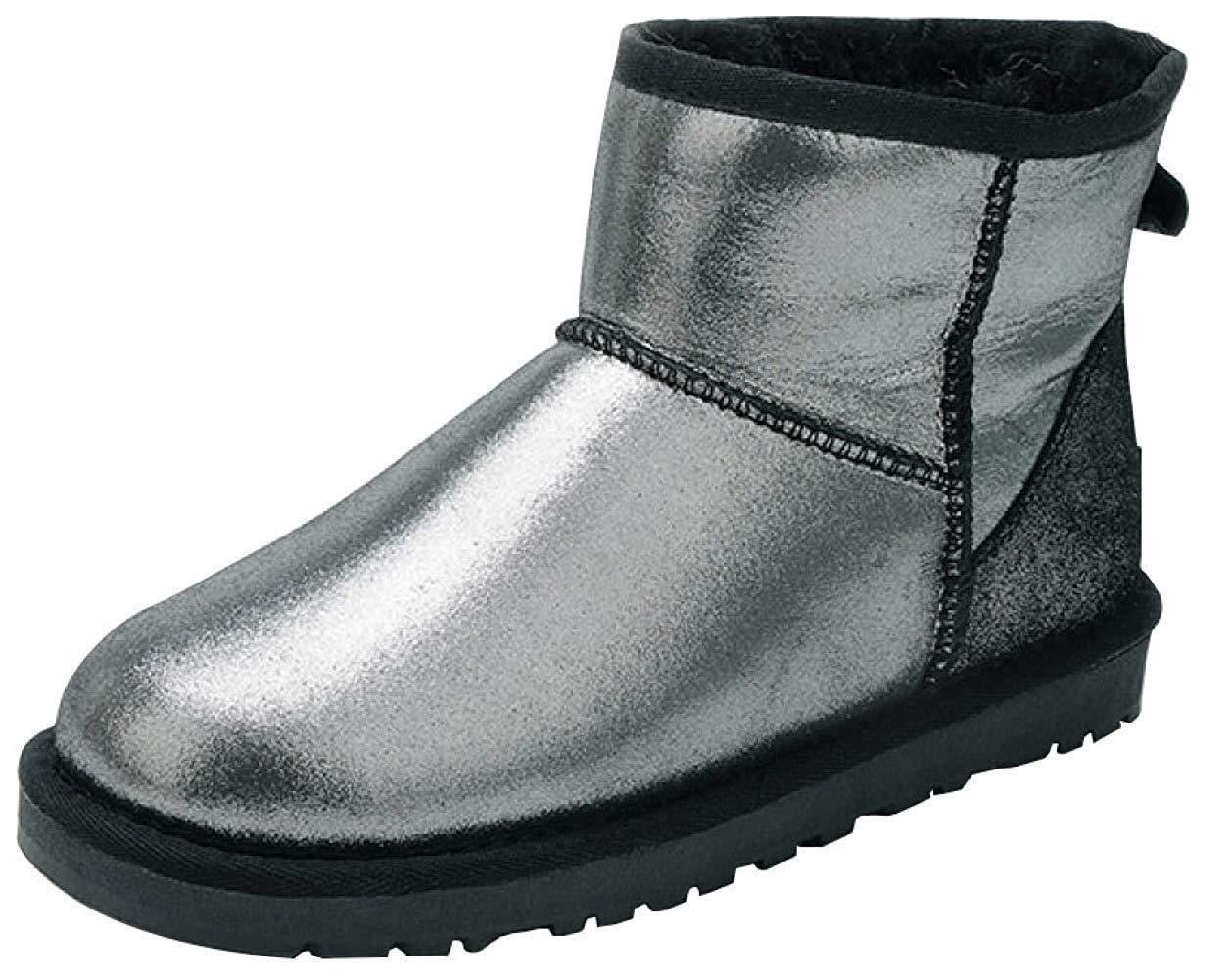 Qiusa Bottes de Neige en Cuir épaisses épaisses et Chaudes pour Femmes en Cuir (Couleuré   2, Taille   39EU)  le style classique