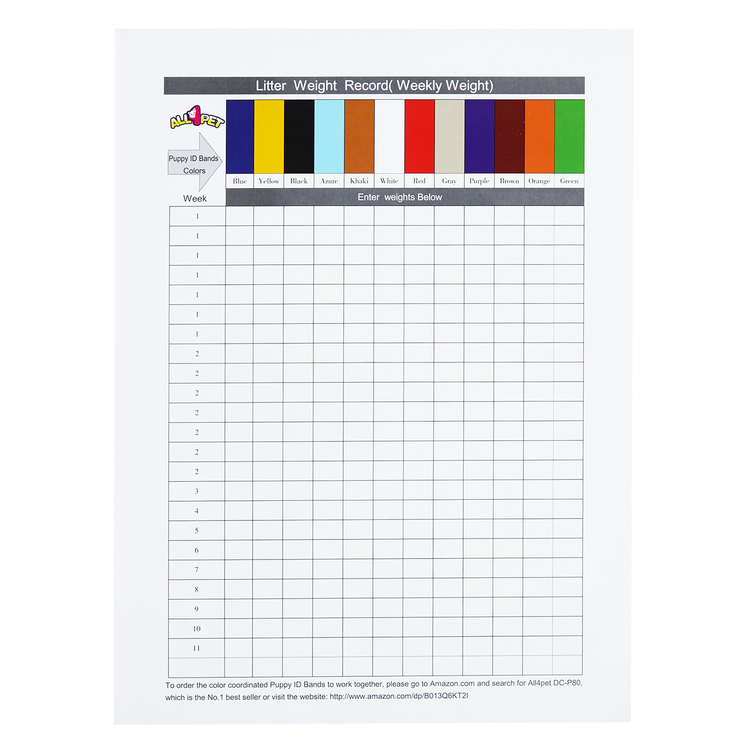 Amazon all4pet record keeping charts for breeders work amazon all4pet record keeping charts for breeders work together with puppy collars puppy id collars sports outdoors nvjuhfo Choice Image