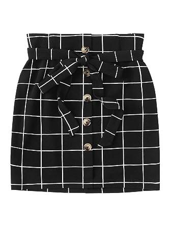 032ab95a1b WDIRARA Women's Casual Plaid High Waist Button Closure A-line Mini Short  Skirt Black XS