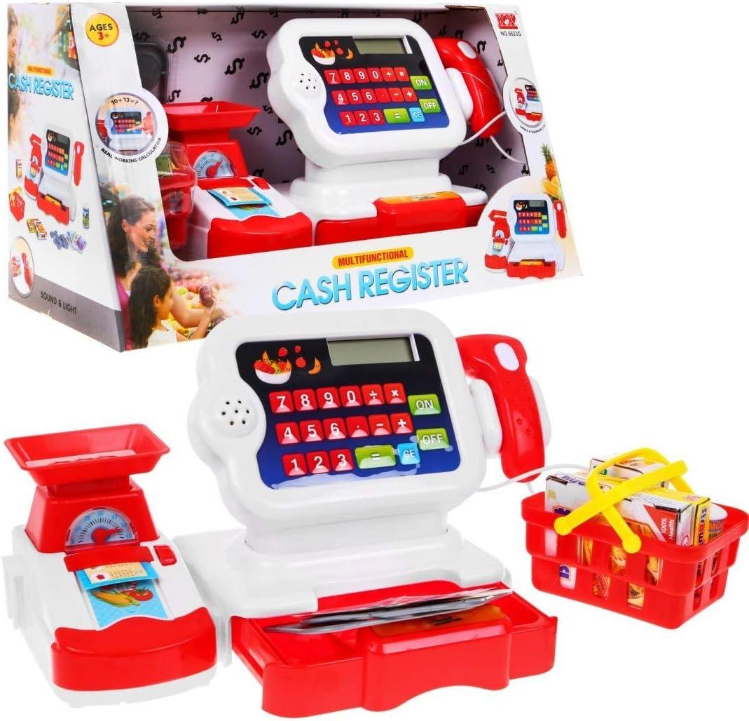 BSD Juego de Imitación, Caja Registradora para Niños, Caja Registradora de Juguete, Caja de Supermercado con Calculadora, Escáner, Cesta la Compra y Accesorios: Amazon.es: Juguetes y juegos