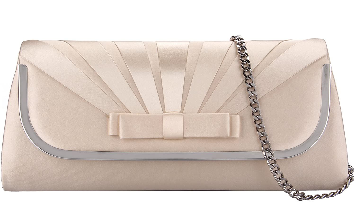 Grace Angel Large Satin Bow Front Evening Handbag Flap Clutch Bag With Crossbody Chain Strap GA16678