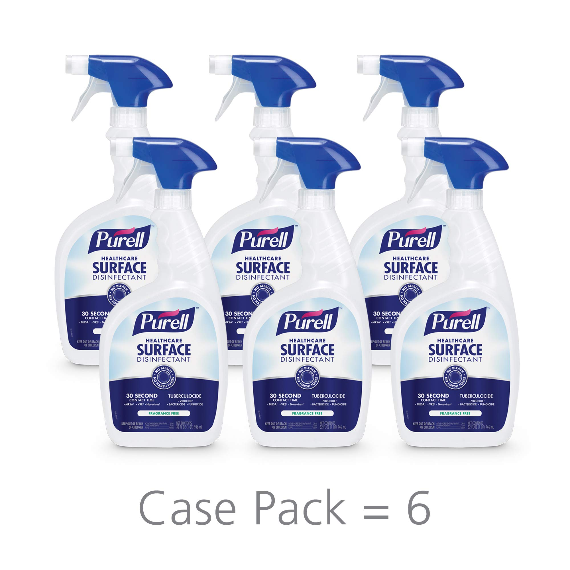 PURELL Healthcare Surface Disinfectant Spray, Fragrance Free, 32 fl oz Capped Bottle with Trigger Sprayer (Pack of 6) - 3340-06 by Purell