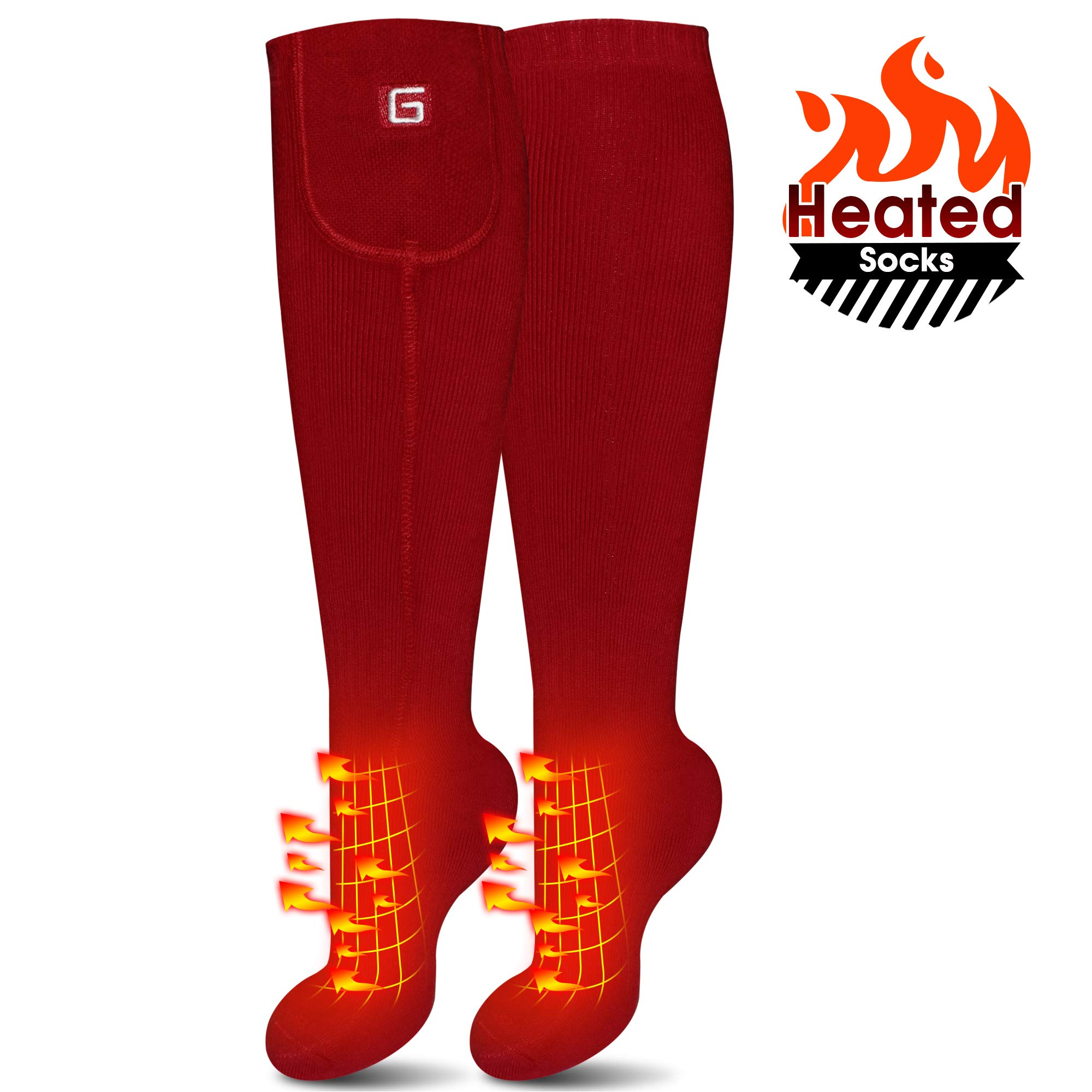 IFWATER Electric Heated Socks for Women Men, Rechargeable Electric Socks Battery Heated Socks Foot Warmer for Chronically Cold Foot, Skiing Hiking Warm Socks (Red, M) by IFWATER
