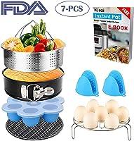 Klezi Instant Pot Accessories Set for 5,6,8 Qt Instant Pot Pressure Cooker Stockpot, 7-Pcs with Steamer Basket,...