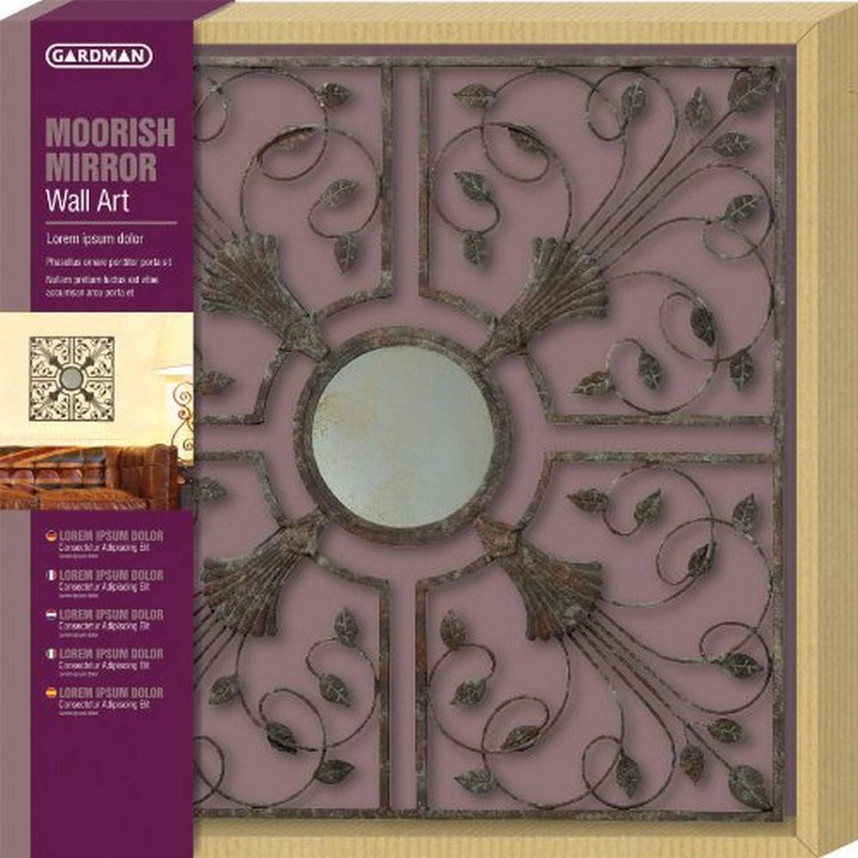 "Gardman 8405 Moorish Mirror Wall Art, Antique Rust, 21.65"" Long x 21.65"" Wide"