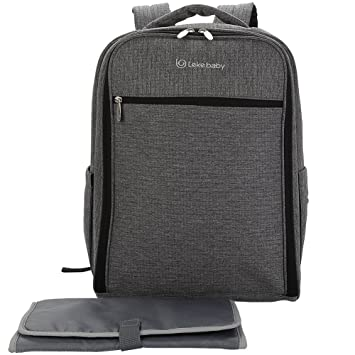 Amazon.com : Leke Baby Diaper Bag Backpack with Changing Pad and Stroller Straps for Mom and Dad, Grey : Baby