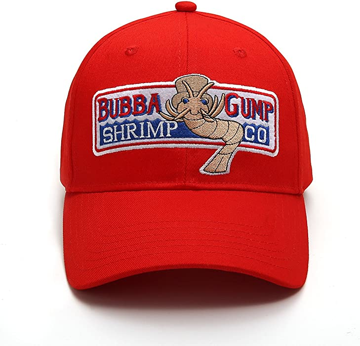 f30194cba9f WYKBPX Adjustable Bubba Gump Baseball Cap Shrimp Co. Embroidered Bend  Brimmed Hat (Red)
