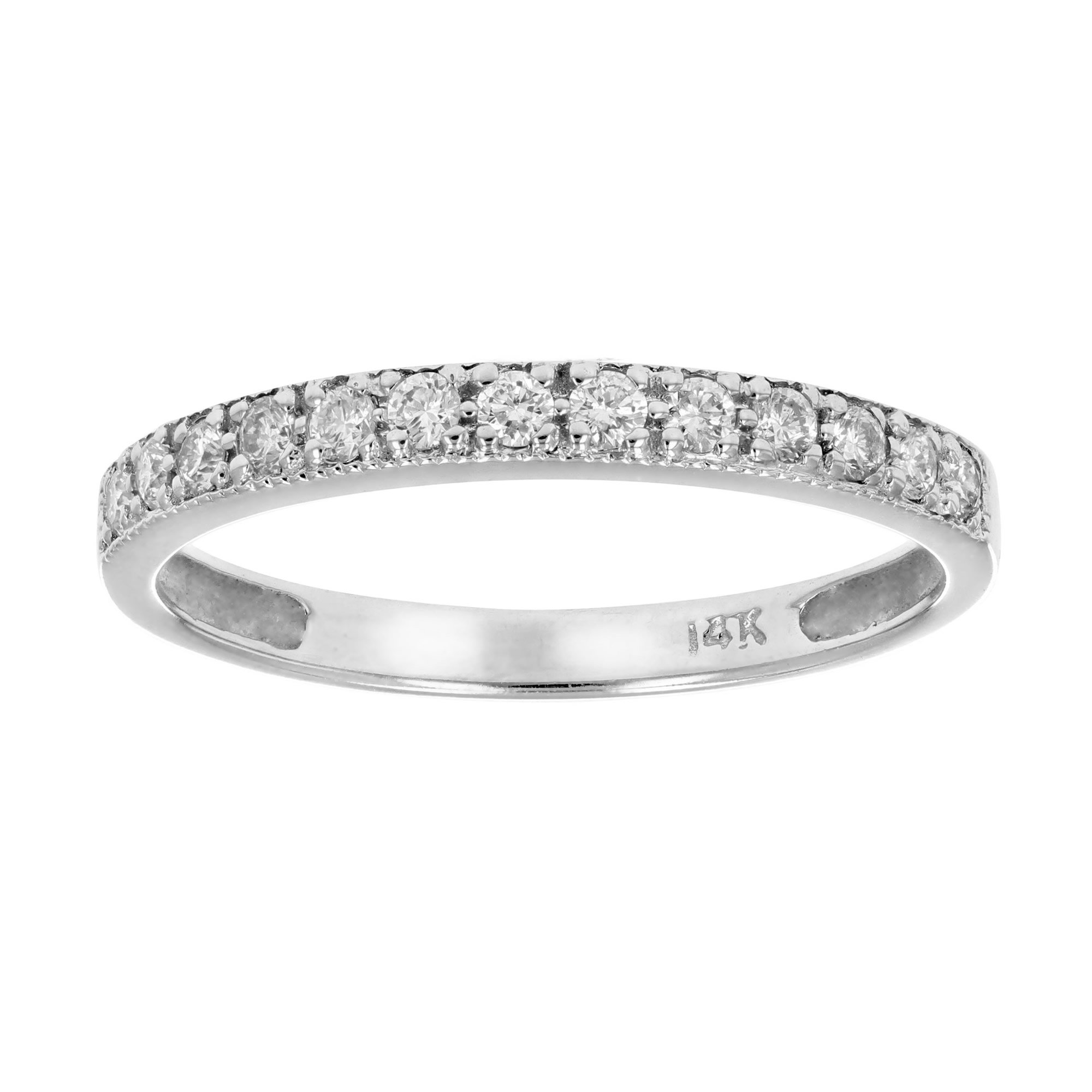 1/5 CT Milgrain Diamond Wedding Band 14K White Gold In size 6.5
