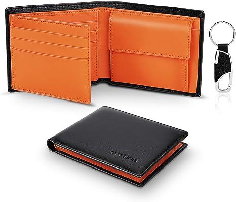 Portafoglio nero da uomo in vera pelle con portamonete in scomparti da per carte