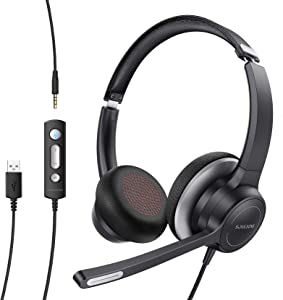 Soulsens USB Headset with Microphone Noise-Cancelling, Clear Sound, 3.5mm Office Headphone with Comfort-fit Earpad, Business PC Headset for Skype, Webinar, Cell Phone, Call Center