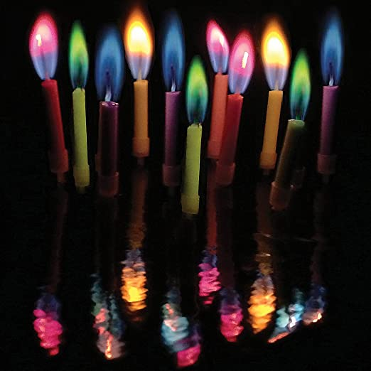 Angelflames Birthday Candles W Colored Flames 12 Per Box Holders Included Medium