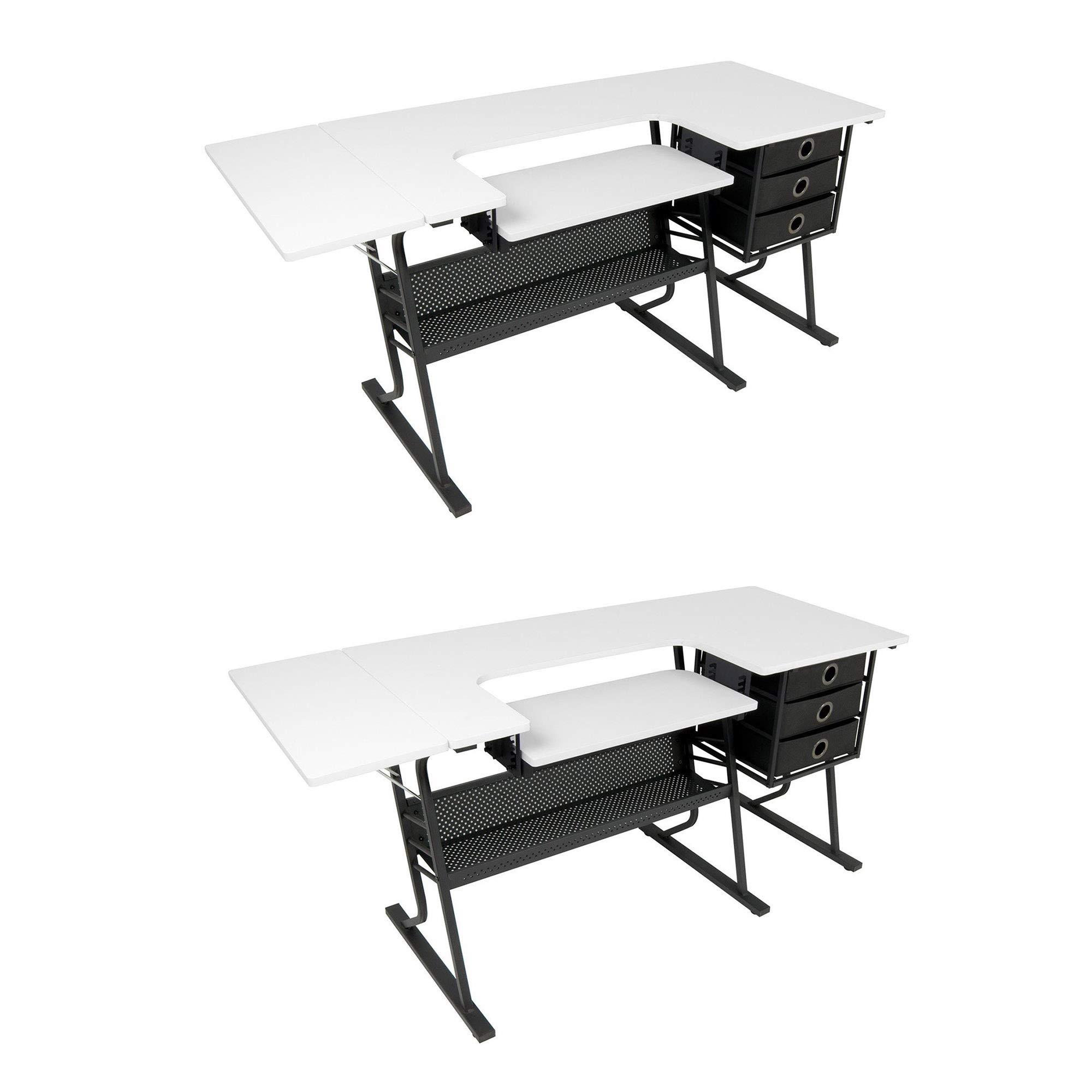 Studio Designs Eclipse Hobby Sewing Arts & Crafts Center Table, Black & White (2 Pack)