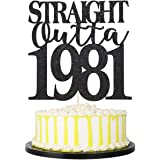 Handmade Straight Outta 1981 Cake Topper for 40th Birthday Party Decorations Black Glitter