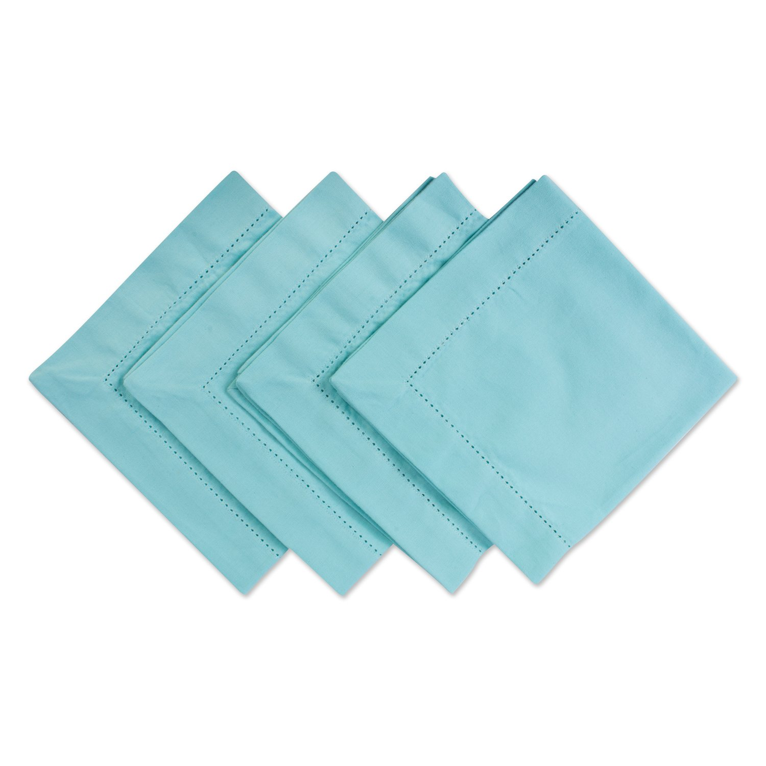 "DII 100% Cotton, Everyday Basic Everyday 18x18"" Hemstitch Napkin Set of 4, Aqua"