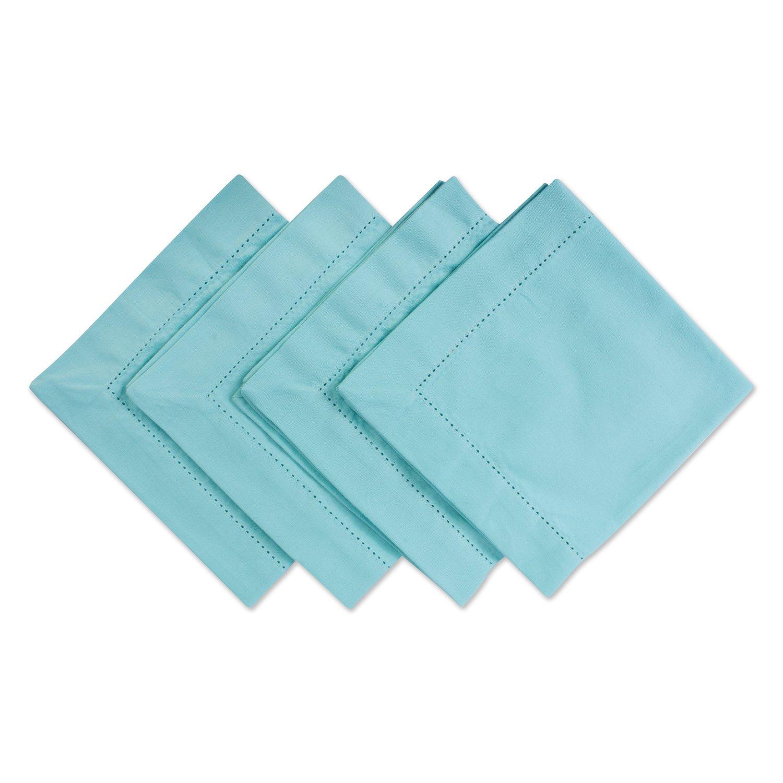 DII 100% Cotton, Everyday Basic Everyday 18x18'' Hemstitch Napkin Set of 4, Aqua