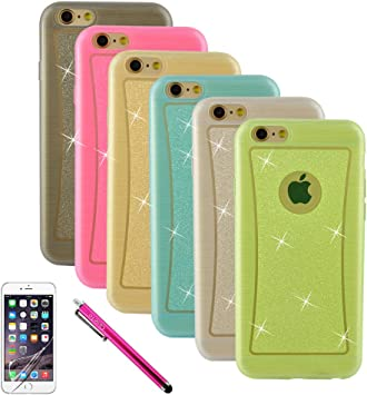 iPhone 6 Plus Funda, iPhone 6 Plus TPU Funda, [Bling Style] Bundle with 6 Pack TPU