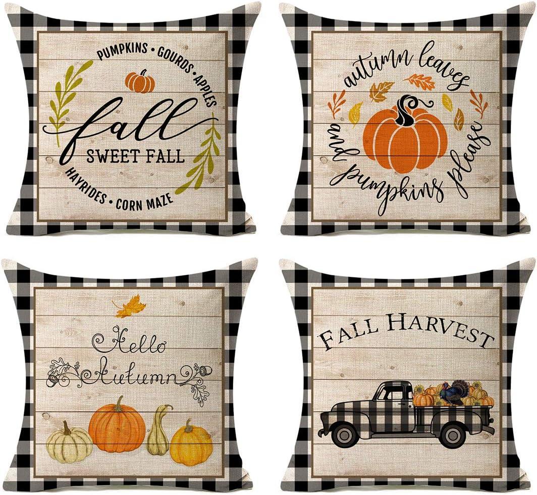 Kithomer Set of 4 Fall Buffalo Plaids Pumpkin Harvest Throw Pillow Cases Autumn Farmhouse Decorative Thanksgiving Throw Pillow Covers Cushion Cover 18x18 inch