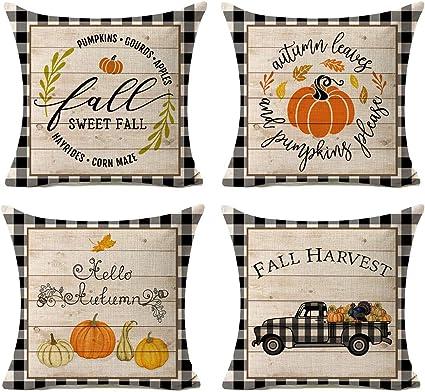 Amazon Com Kithomer Set Of 4 Fall Buffalo Plaids Pumpkin Harvest Throw Pillow Cases Autumn Farmhouse Decorative Thanksgiving Throw Pillow Covers Cotton Linen Cushion Cover 18x18 Inch Home Kitchen