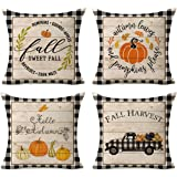 Kithomer Set of 4 Fall Buffalo Plaids Pumpkin Harvest Throw Pillow Cases Autumn Farmhouse Decorative Thanksgiving Throw…