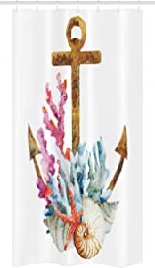 Ambesonne Anchor Stall Shower Curtain, Corals Seaweed Nature Deep Sea Underwater Life Diving Enjoyment Marine Print, Fabric Bathroom Decor Set with Hooks, 36