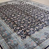 Yilong 9 x12  Large Hand Knotted Silk Carpet Antique Oriental Kerman Floral Garden Scene Handmade Home Carpet...