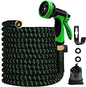 MEACKLE Expandable Garden Hose, 75ft Water Hose with 10 Patterns Spray Nozzle, Flexible Latex Pipe 3/4 Solid Brass Fittings, Lightweight Leakproof