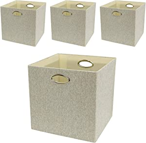 Posprica Storage Bins,13×13 Storage Cubes,Collapsible Fabric Storage Baskets Boxes Containers Drawers, 4pcs (Mixed of Beige/Grey)