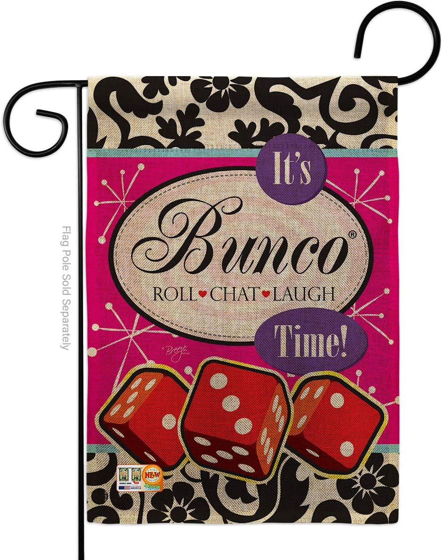 Breeze Decor Games It's Bunco Time! Garden Flag Interests Night Dice Poker Bingo Hobbies Leisure Activity Small Decorative Gift Yard House Banner Double-Sided Made in USA 13 X 18.5