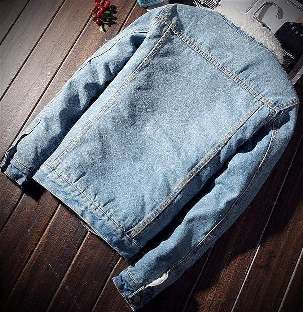 Joe Wenko Mens Denim Faux Fur Lined Padded Fleece Comfortable Jacket Anoraks Parka Coat