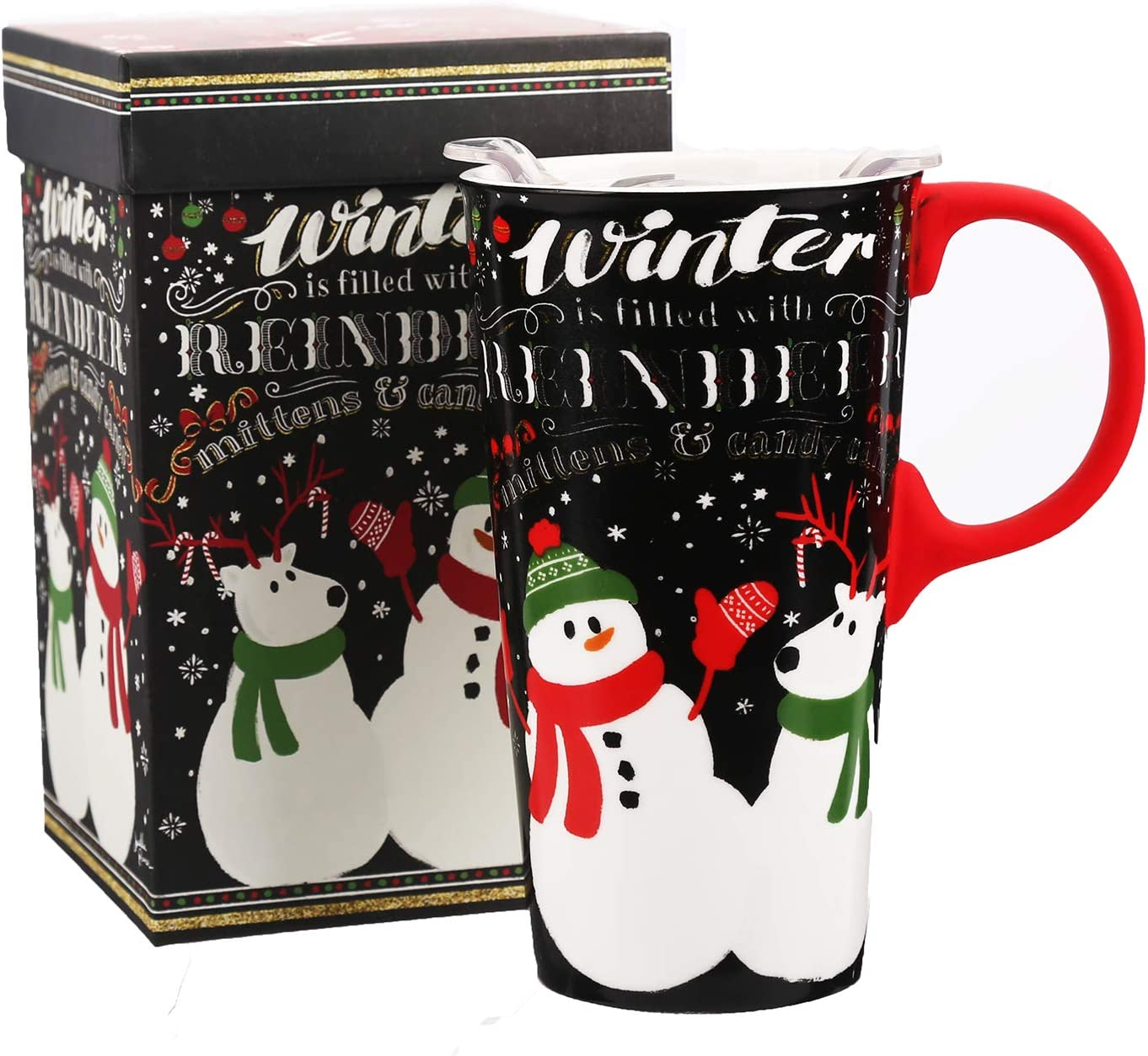 Ceramic Travel Mug for Coffee or Tea Sealed Lid 17 oz.with Gift Box,Snowman