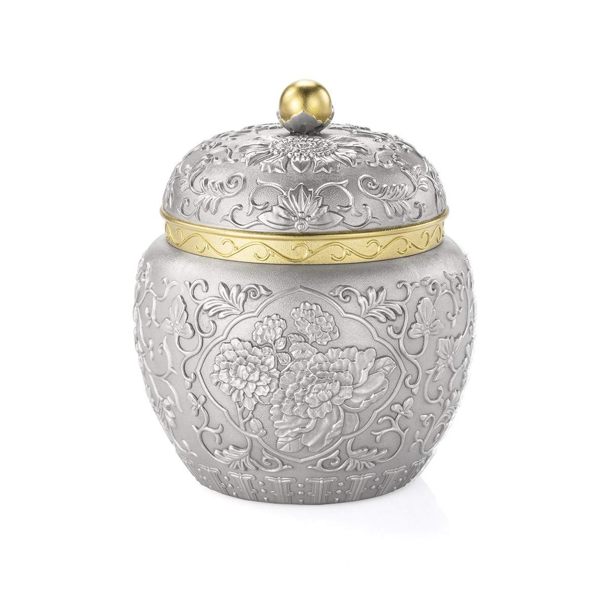 Royal Selangor Hand Finished Straits Expression Collection Pewter Peony Tea Caddy