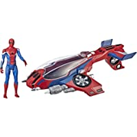 MARVEL SPIDERMAN - Spider-man & Spider Jet - Far From Home - Titan Hero Power FX Compatible - Kids Super Hero Toys - Ages 4+
