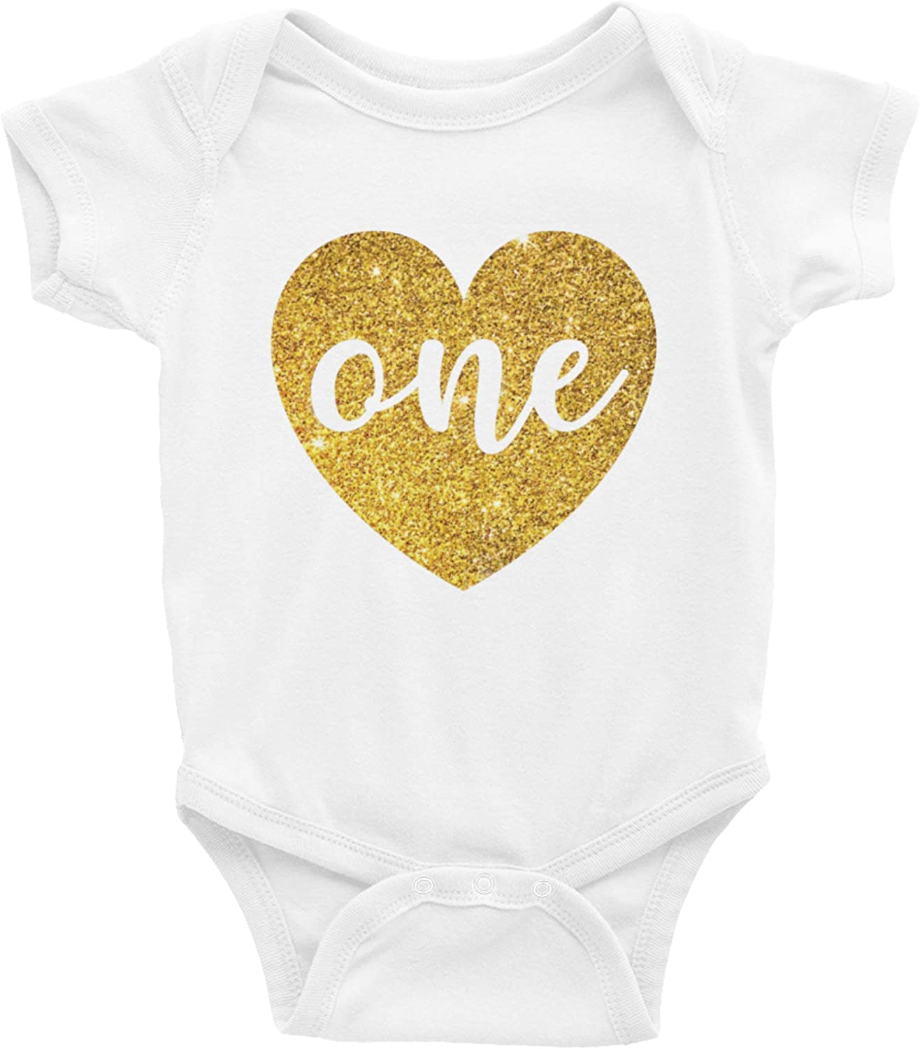One Year Old Glitter Onesie One in Real Non Shed Gold Glitter Rainbow Squared Baby Girls First Birthday Outfit