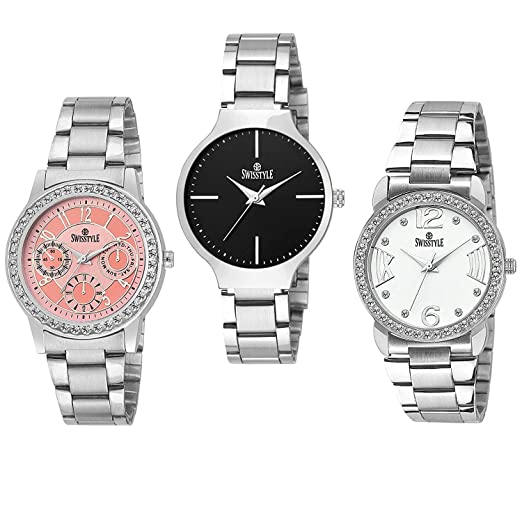 19b405b2caf Buy Swisstyle Analogue Black Pink White Dial Women s Combo Of 3 Watch -  Ss-3Cmb-03 Online at Low Prices in India - Amazon.in