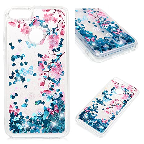 Carcasa Xiaomi Mi A1, Xiaomi 5X Funda Silicona TPU Bling Lentejuelas Arenas movedizas Cubierta Glitter Sparkle Brillar Claro Cristal Bumper Case Cover ...