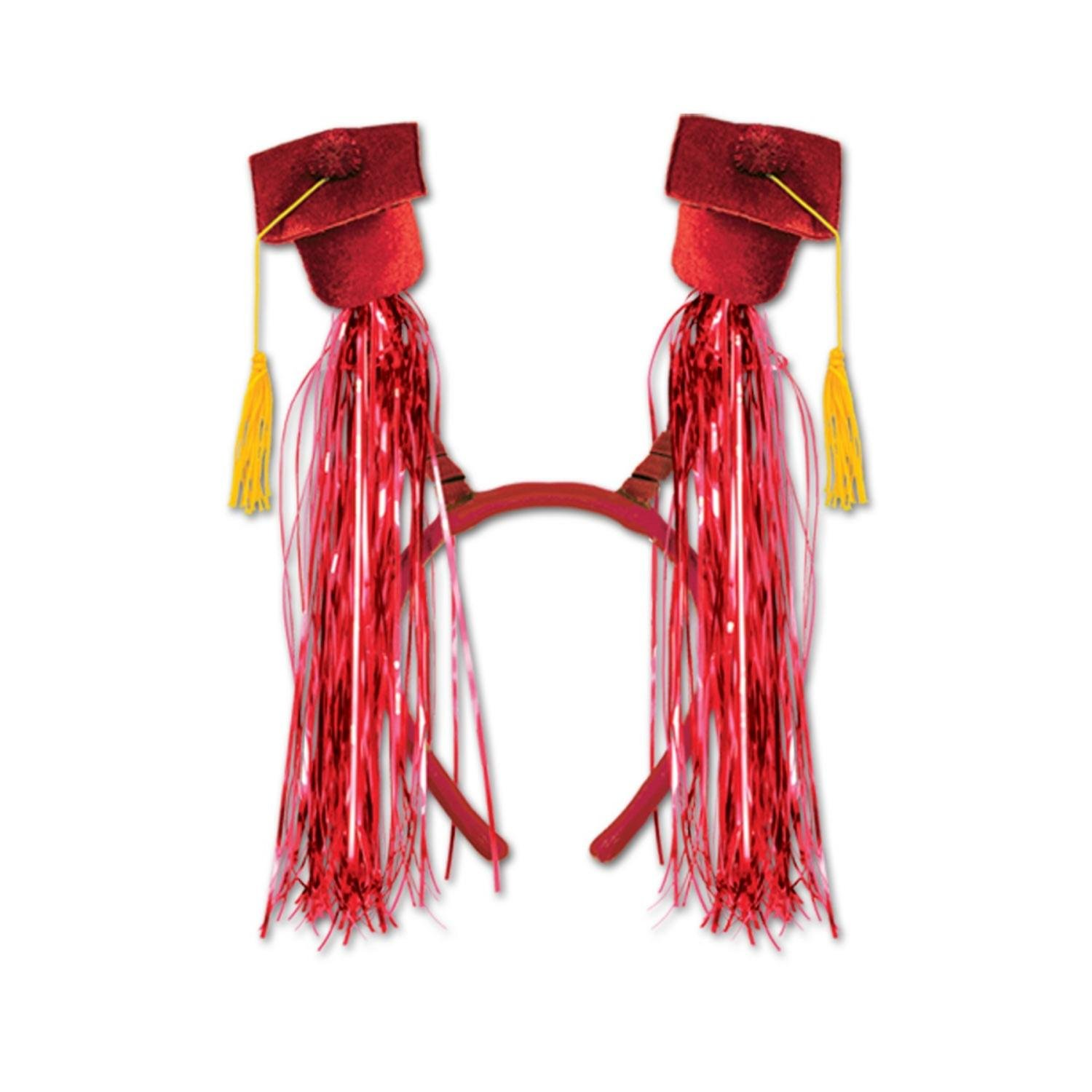 Club Pack of 12 Red Graduation Cap with Fringe Bopper Headband Party Favors by Party Central