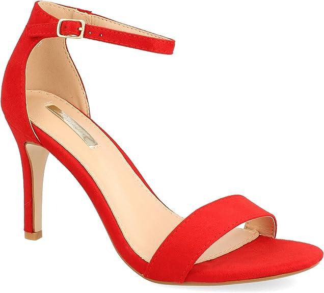 Sandalia Roja Elegante moda mujer