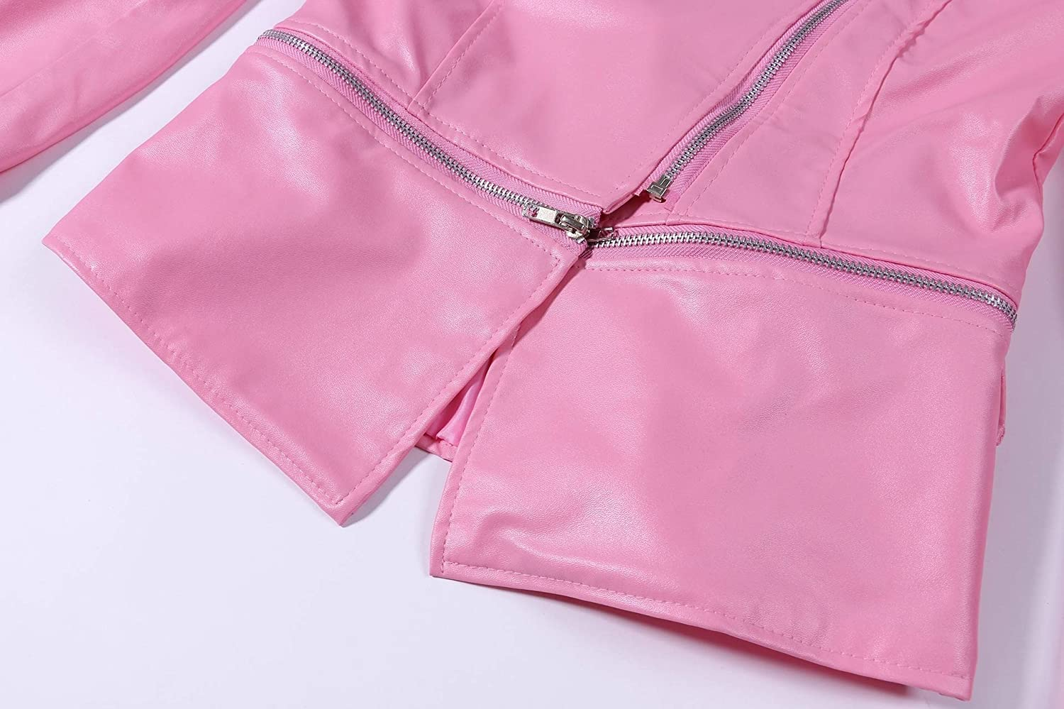 MirrliyWomen Curvy Zip Up Pure Color Personalized PU Outwear