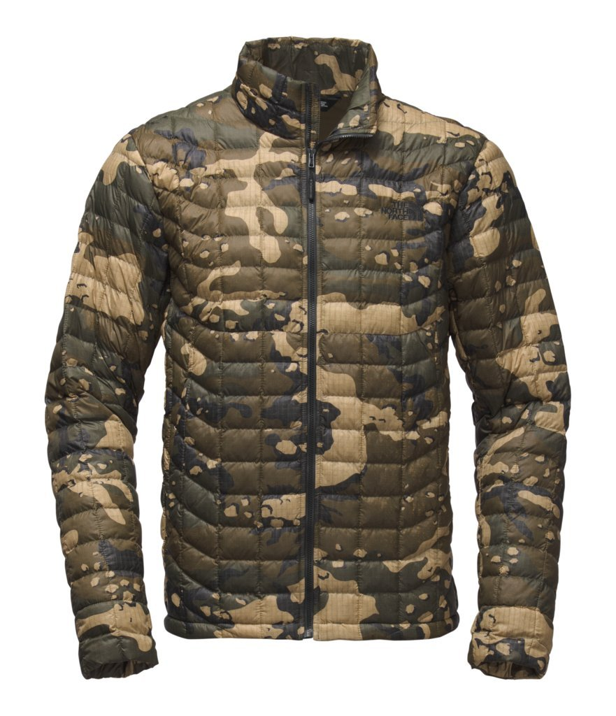 The North Face Men's Thermoball Jacket - Burnt Olive Green Woodchip Camo Print - L (Past Season)