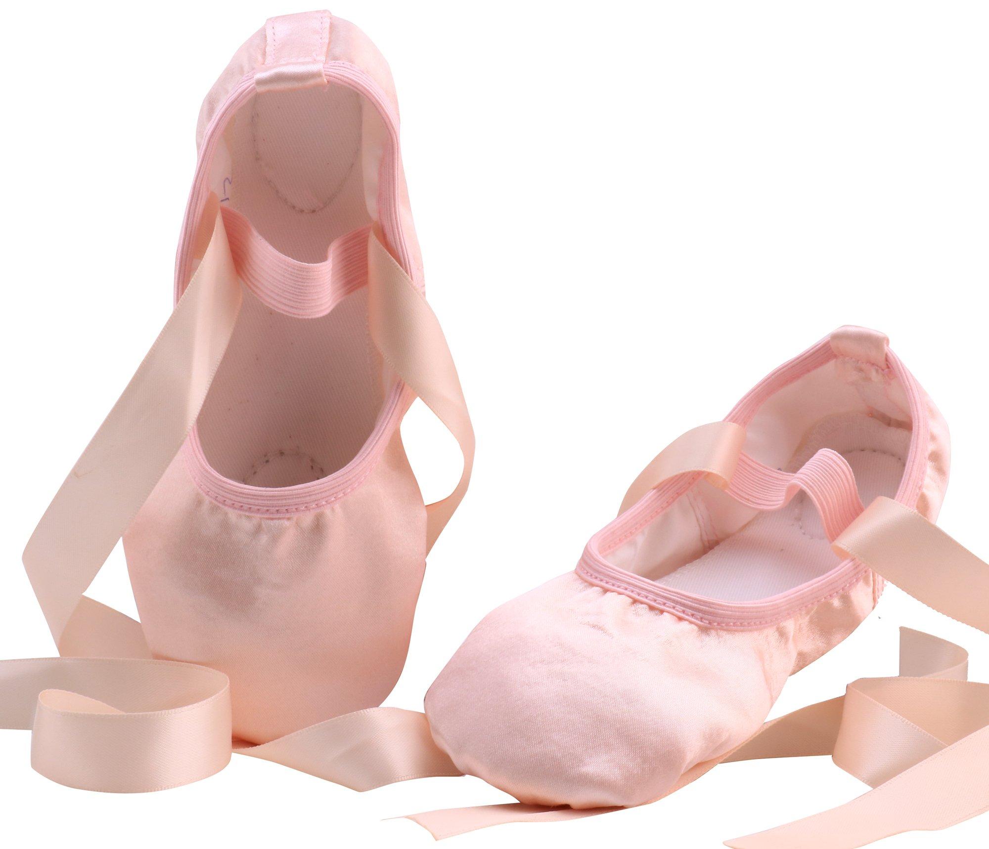 LONSOEN Ballet Slipper Shoes Satin Ribbons Ballerinas Dance Flats for Girls SHC553 Nude CN26