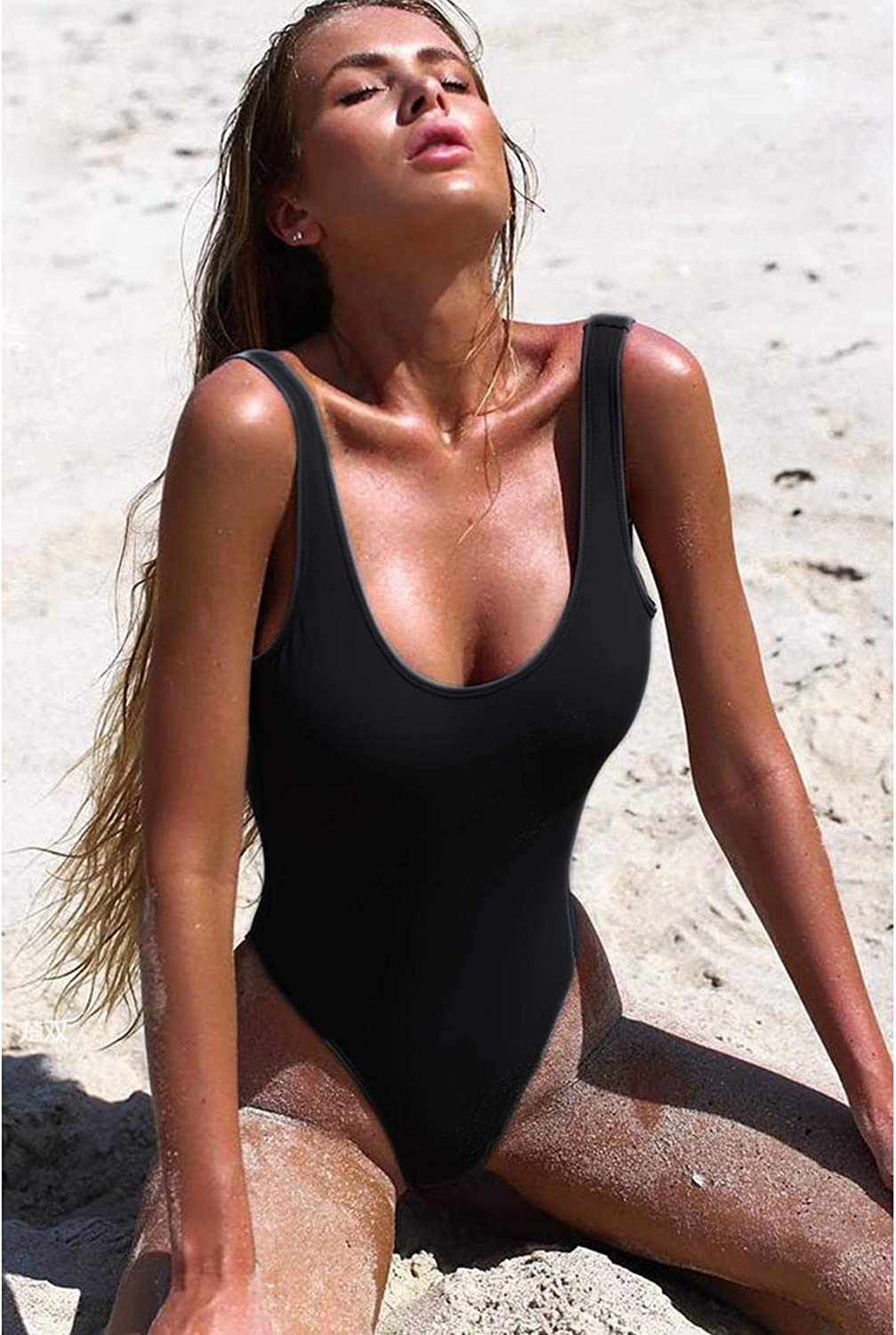 COLO Basic One Piece Monokini Full Coverage Bathing Suits for Women Padded Solid Color Swimsuits Backless Deep-U Neck