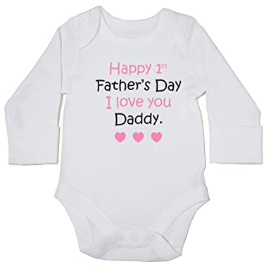 3f4a1d7c5 Hippowarehouse Happy 1st Father's Day (Pink) Baby Vest Bodysuit (Long  Sleeve) Boys Girls: Amazon.co.uk: Clothing