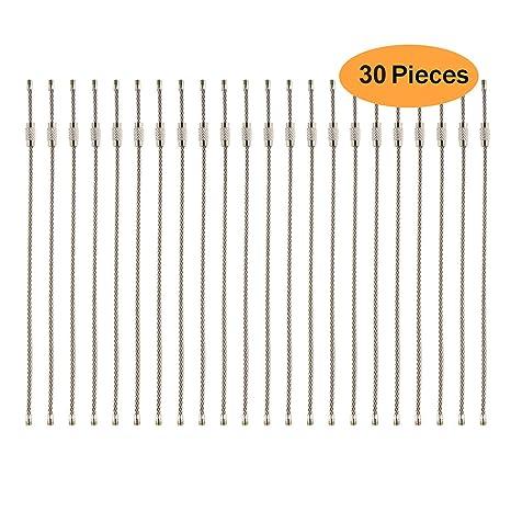 uooom 30 pcs alambre de acero inoxidable llavero Cable llavero clave cadena diámetro 35 mm