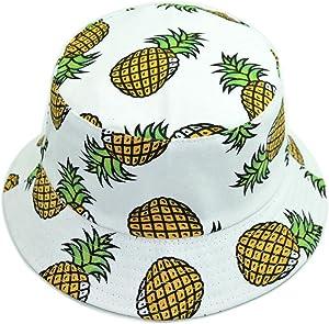 Hustar Unisex Fruit Printed Dual Use Bucket Hat Fisherman Hat Sun Visor Hat for Summer Beach Pineapple White