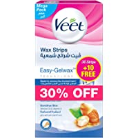 Veet Hair Removal Cold Wax Strips Sensitive Skin - Pack of 30 + Pack of 10 Free