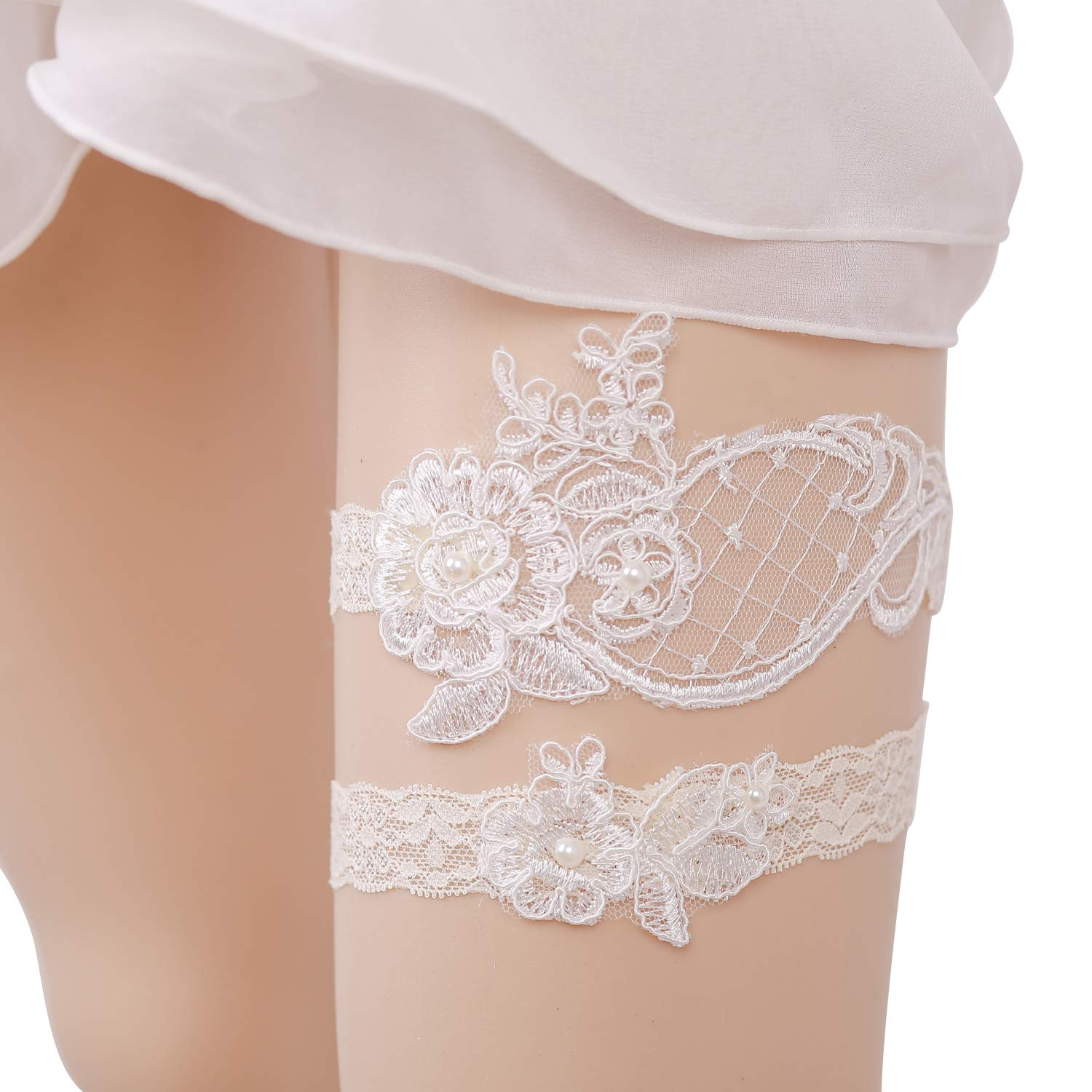 shinyis Handmade Strecth Lace Bridal Wedding Garter Set with Toss Garter and Keepsake Garter for Bride Dress